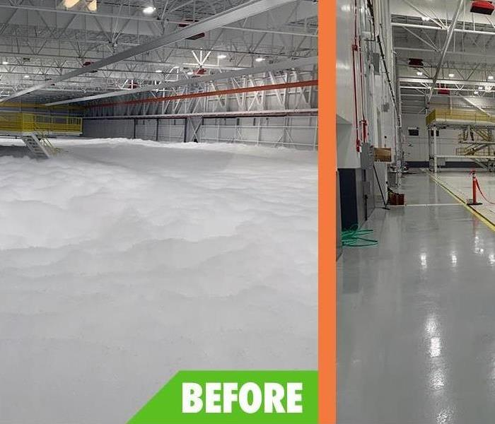 This before image shows a maintenance hangar covered in foam from a fire extinguisher malfunction.