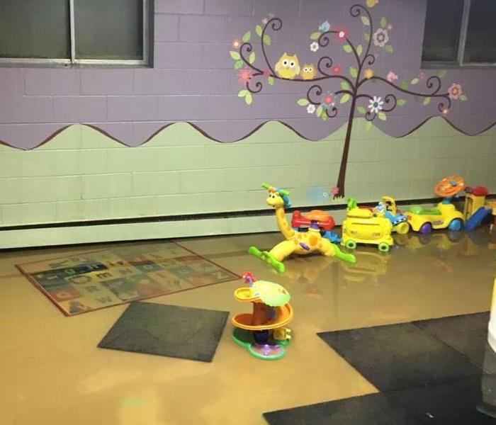 This before image shows a church nursery after it flooded.