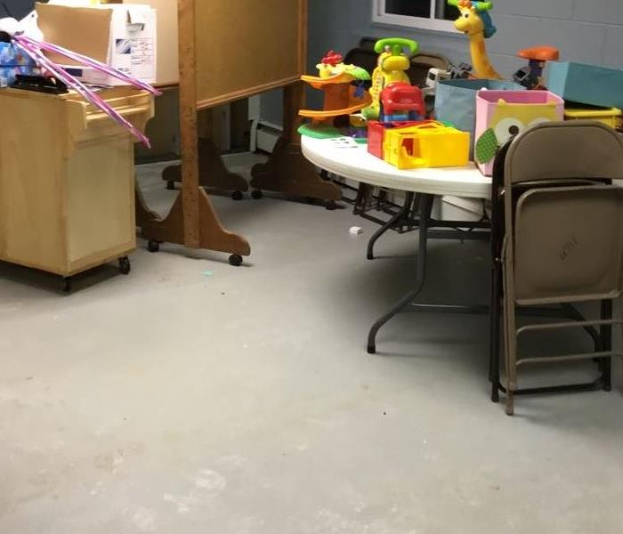 The after picture shows how church nursery looks after SERVPRO of Lapeer came in and dried the area out.